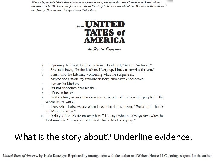 What is the story about? Underline evidence. Bill Atwood: Collins Education 2014 28