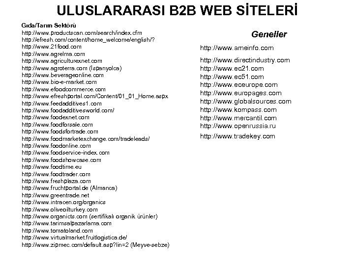 ULUSLARARASI B 2 B WEB SİTELERİ Gıda/Tarım Sektörü http: //www. productscan. com/search/index. cfm http: