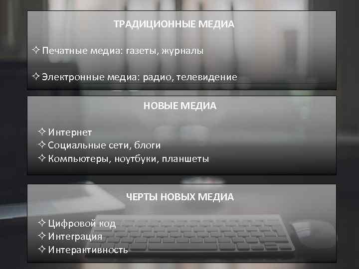 ТРАДИЦИОННЫЕ МЕДИА ² Печатные медиа: газеты, журналы ² Электронные медиа: радио, телевидение НОВЫЕ МЕДИА