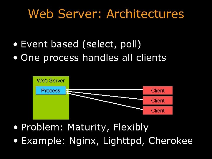 Web Server: Architectures • Event based (select, poll) • One process handles all clients