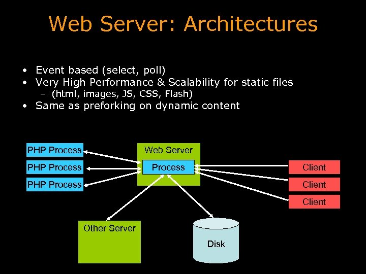 Web Server: Architectures • Event based (select, poll) • Very High Performance & Scalability