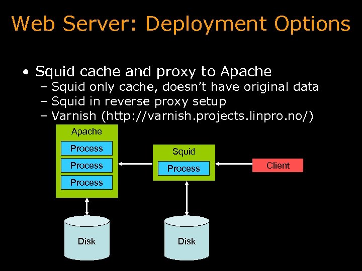 Web Server: Deployment Options • Squid cache and proxy to Apache – Squid only