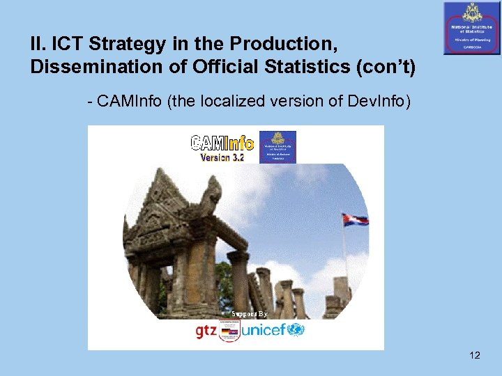 II. ICT Strategy in the Production, Dissemination of Official Statistics (con't) - CAMInfo (the