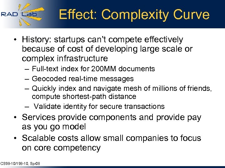 Effect: Complexity Curve • History: startups can't compete effectively because of cost of developing