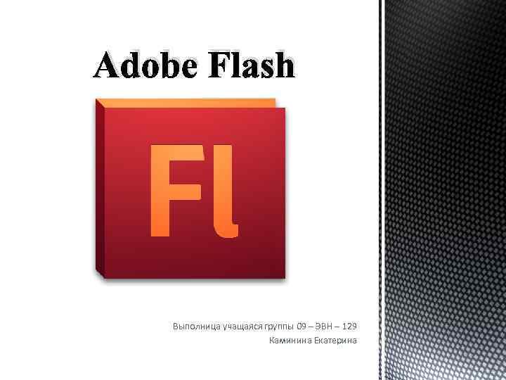 Adobe Flash Выполница учащаяся группы 09 – ЭВН – 129 Каминина Екатерина