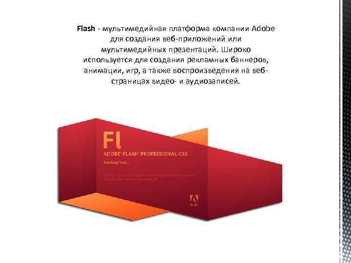 Flash - мультимедийная платформа компании Adobe для создания веб-приложений или мультимедийных презентаций. Широко используется