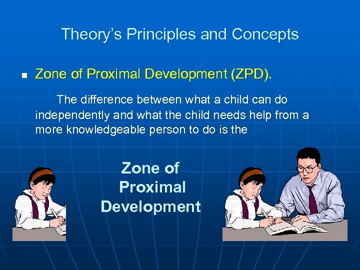 Theory's Principles and Concepts n Zone of Proximal Development (ZPD). The difference between what