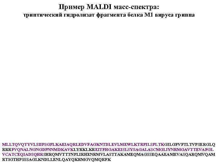 Пример MALDI масс-спектра: триптический гидролизат фрагмента белка М 1 вируса гриппа MLLTQVQTYVLSIIPSGPLKAEIAQRLEDVFAGKNTDLEVLMEWLKTRPILSPLTKGILGFVFTLTVPSERGLQ RRRFVQNALNGNGDPNNMDKAVKLYRKLKREITFHGAKEISLSYSAGALASCMGLIYNRMGAVTTEVAFGL VCATCEQIADSQHRSHRQMVTTTNPLIRHENRMVLASTTAKAMEQMAGSSEQAAEAMEVASQARQMVQAM