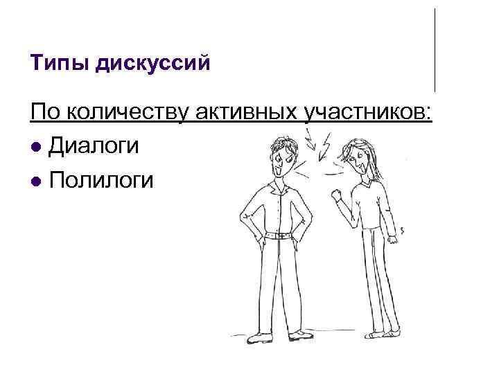 Типы дискуссий По количеству активных участников: Диалоги Полилоги