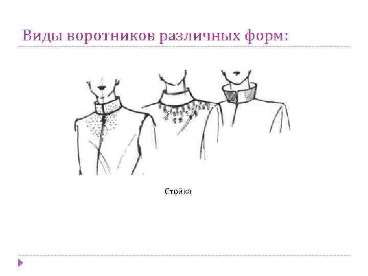 Виды воротников различных форм: Стойка