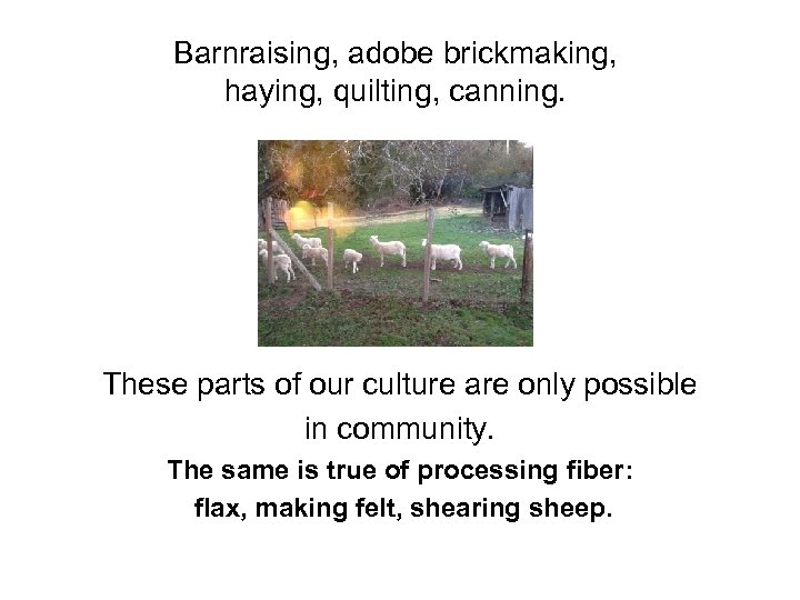 Barnraising, adobe brickmaking, haying, quilting, canning. These parts of our culture are only possible