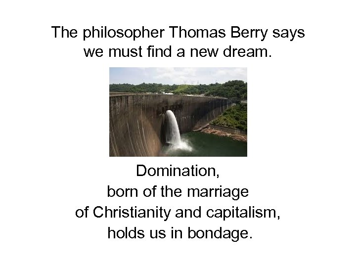The philosopher Thomas Berry says we must find a new dream. Domination, born of