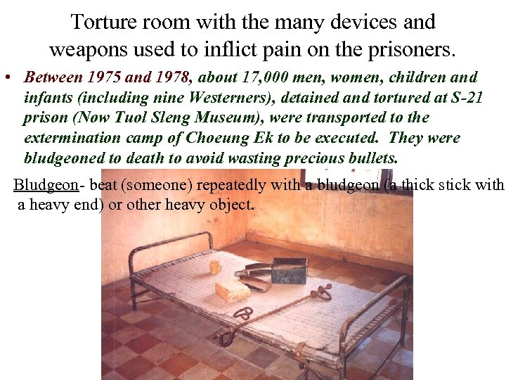 Torture room with the many devices and weapons used to inflict pain on the