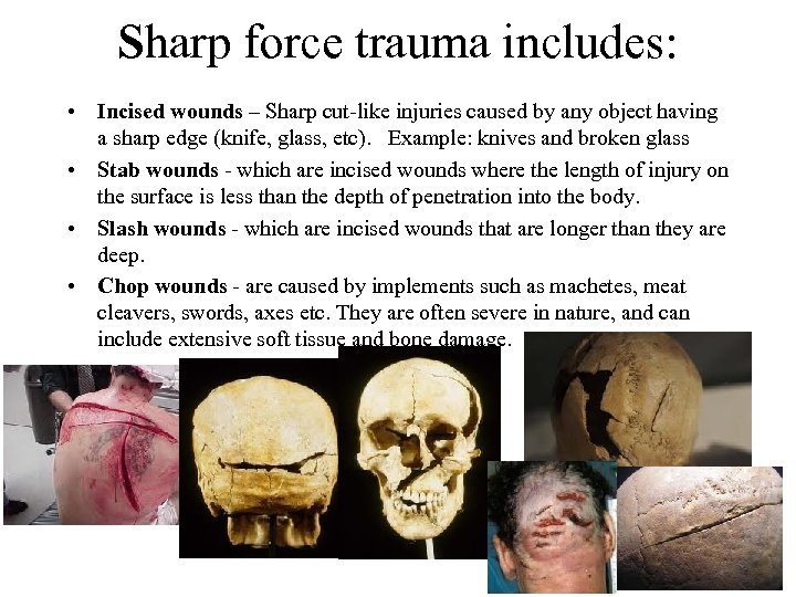 Sharp force trauma includes: • Incised wounds – Sharp cut-like injuries caused by any