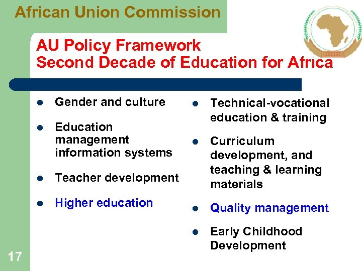 African Union Commission AU Policy Framework Second Decade of Education for Africa l Gender