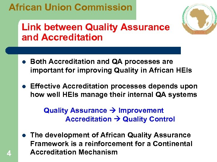 African Union Commission Link between Quality Assurance and Accreditation l Both Accreditation and QA