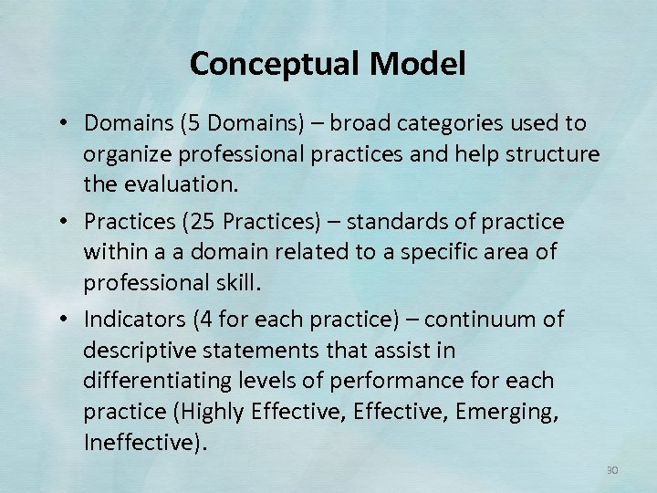 Conceptual Model • Domains (5 Domains) – broad categories used to organize professional practices