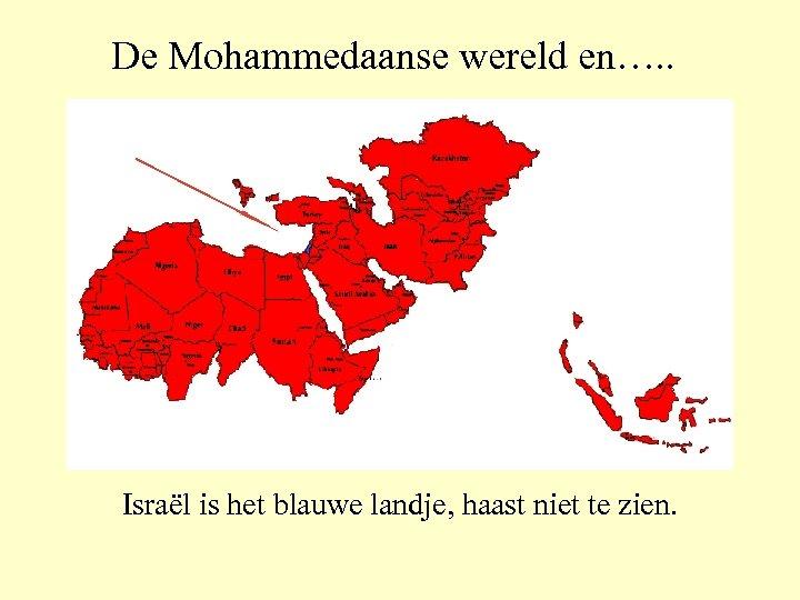De Mohammedaanse wereld en…. . Israël is het blauwe landje, haast niet te zien.