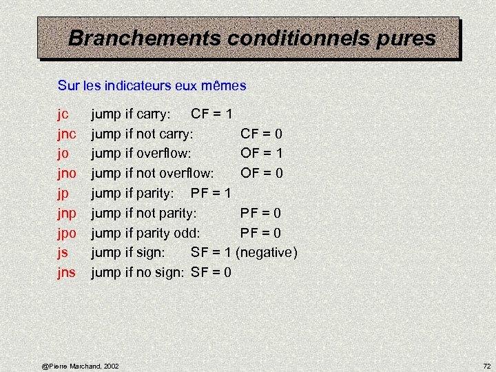 Branchements conditionnels pures Sur les indicateurs eux mêmes jc jnc jo jno jp jnp