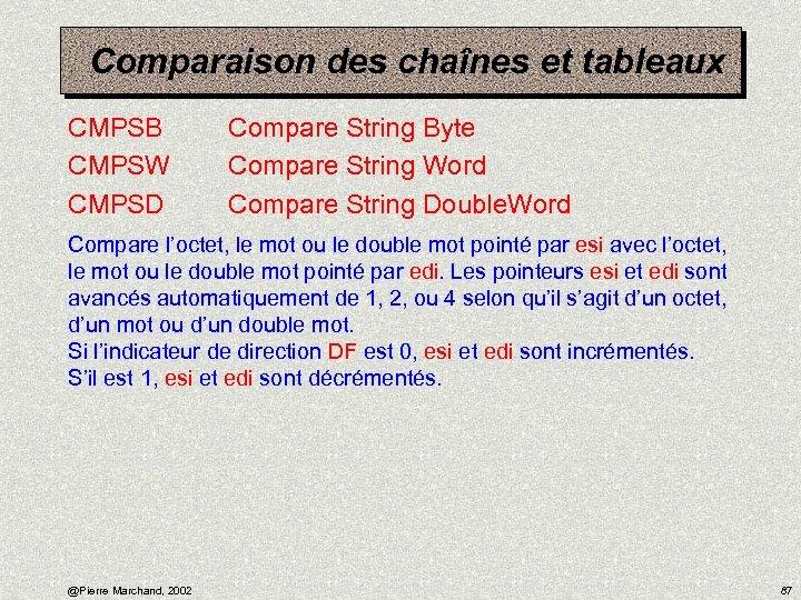 Comparaison des chaînes et tableaux CMPSB CMPSW CMPSD Compare String Byte Compare String Word