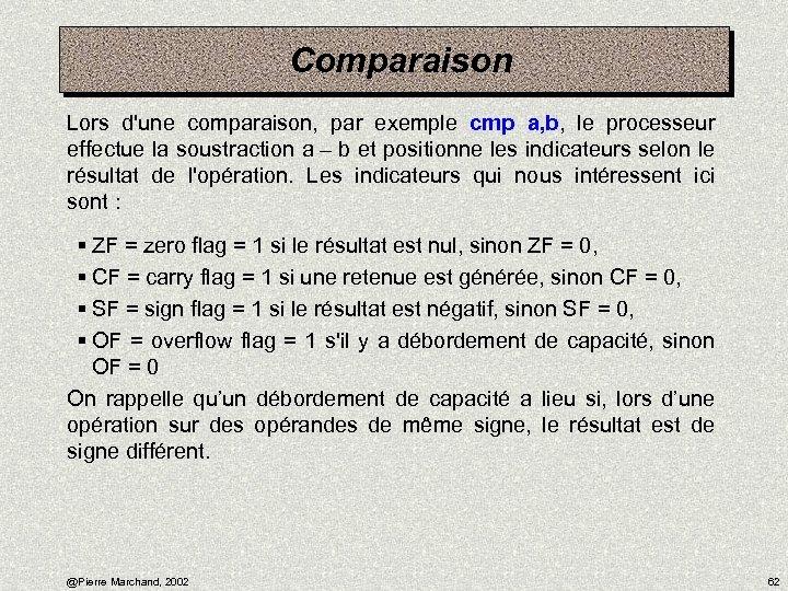Comparaison Lors d'une comparaison, par exemple cmp a, b, le processeur effectue la soustraction