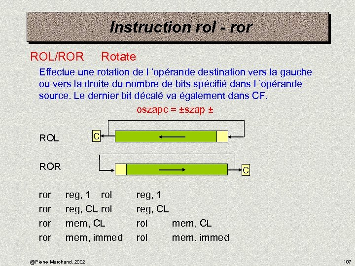 Instruction rol - ror ROL/ROR Rotate Effectue une rotation de l 'opérande destination vers