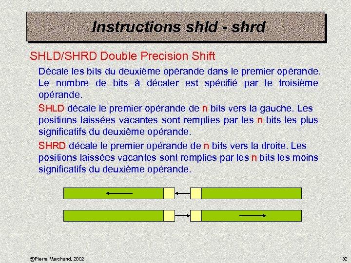 Instructions shld - shrd SHLD/SHRD Double Precision Shift Décale les bits du deuxième opérande