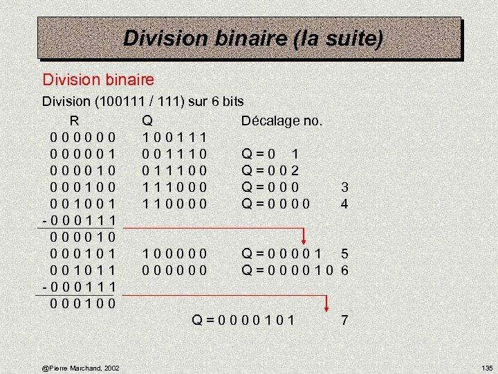 Division binaire (la suite) Division binaire Division (100111 / 111) sur 6 bits R