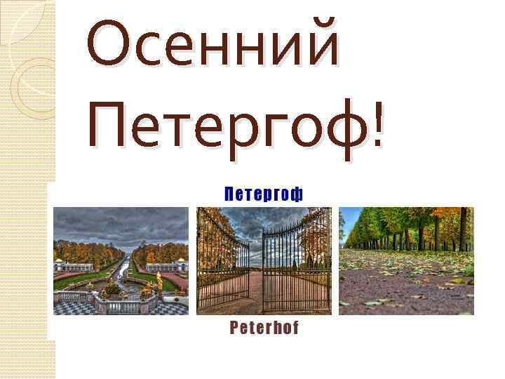 Осенний Петергоф!
