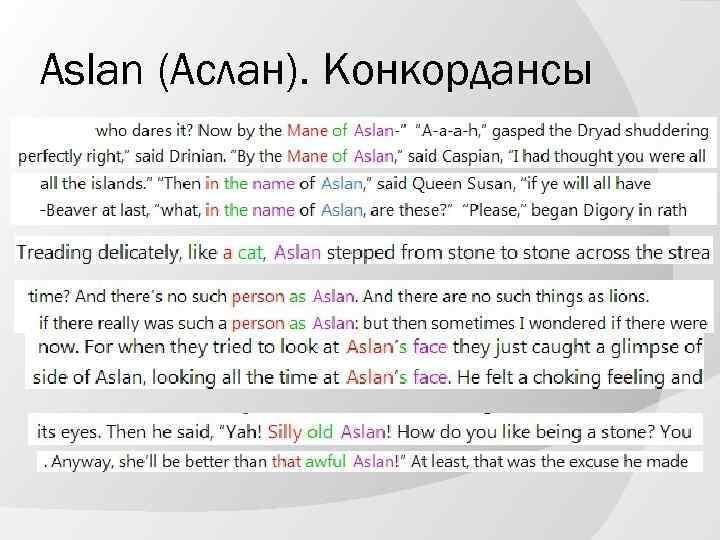 Aslan (Аслан). Конкордансы
