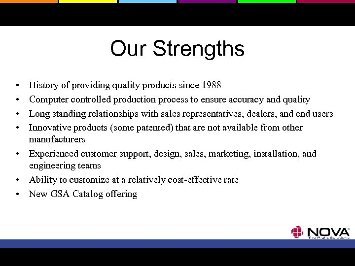Our Strengths • • History of providing quality products since 1988 Computer controlled production