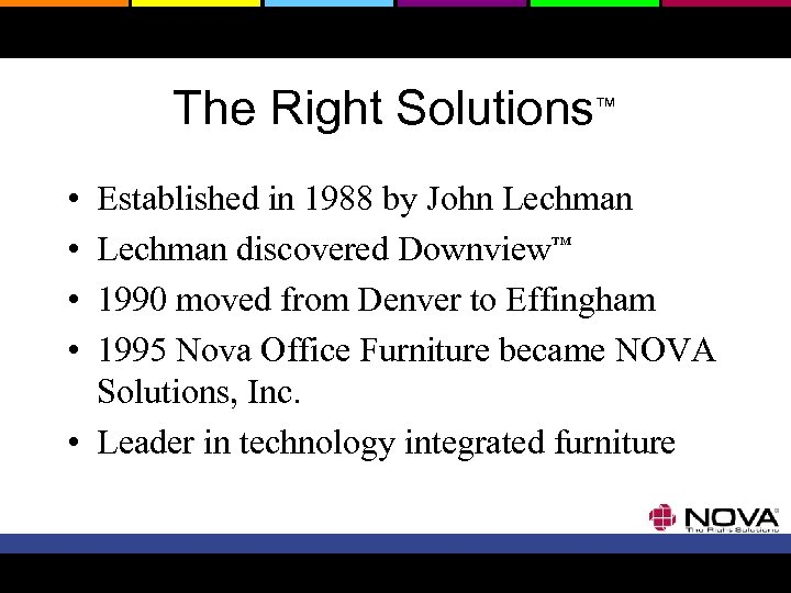 The Right Solutions™ • • Established in 1988 by John Lechman discovered Downview™ 1990