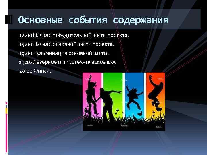 Основные события содержания 12. 00 Начало побудительной части проекта. 14. 00 Начало основной части