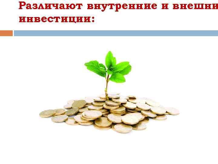 Различают внутренние и внешни инвестиции: