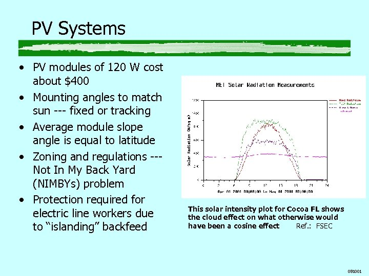 PV Systems • PV modules of 120 W cost about $400 • Mounting angles