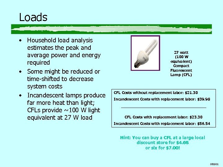 Loads • Household load analysis estimates the peak and average power and energy required