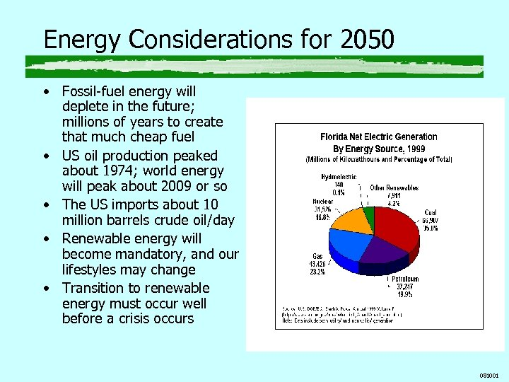 Energy Considerations for 2050 • Fossil-fuel energy will deplete in the future; millions of