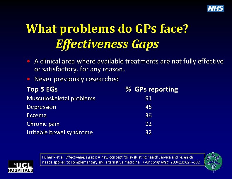 What problems do GPs face? Effectiveness Gaps • A clinical area where available treatments
