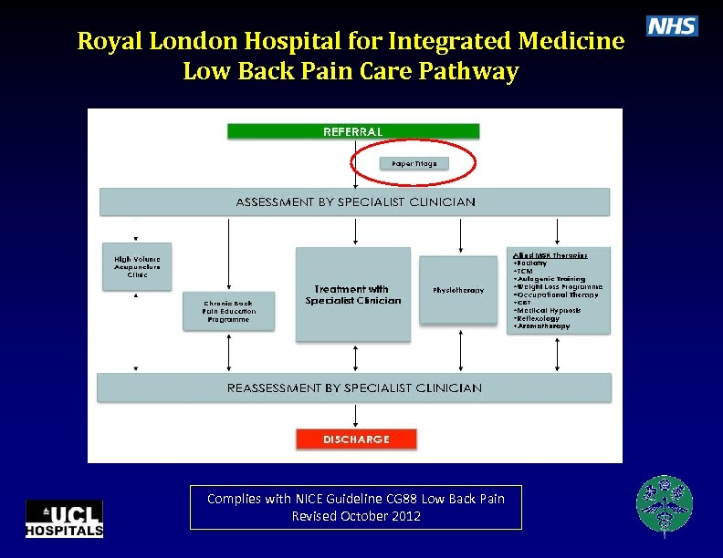 Royal London Hospital for Integrated Medicine Low Back Pain Care Pathway Complies with NICE