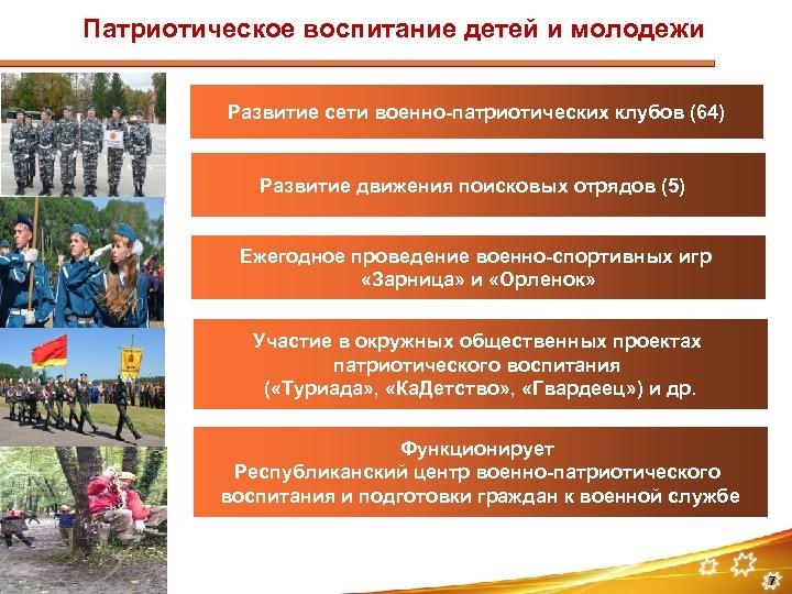 Патриотическое воспитание детей и молодежи Развитие сети военно-патриотических клубов (64) Развитие движения поисковых отрядов