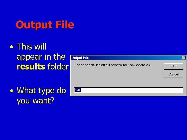 Output File • This will appear in the results folder • What type do