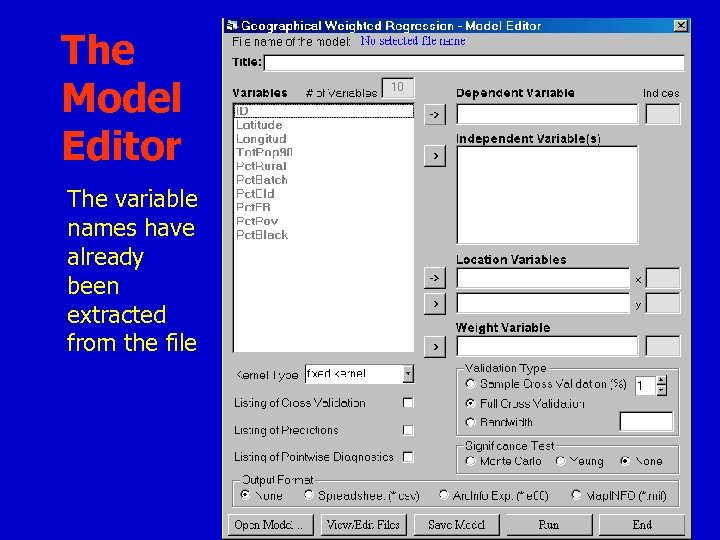 The Model Editor The variable names have already been extracted from the file