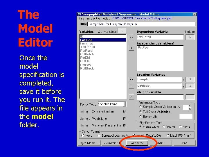 The Model Editor Once the model specification is completed, save it before you run
