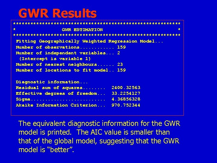 GWR Results ***************************** * GWR ESTIMATION * ***************************** Fitting Geographically Weighted Regression Model. .