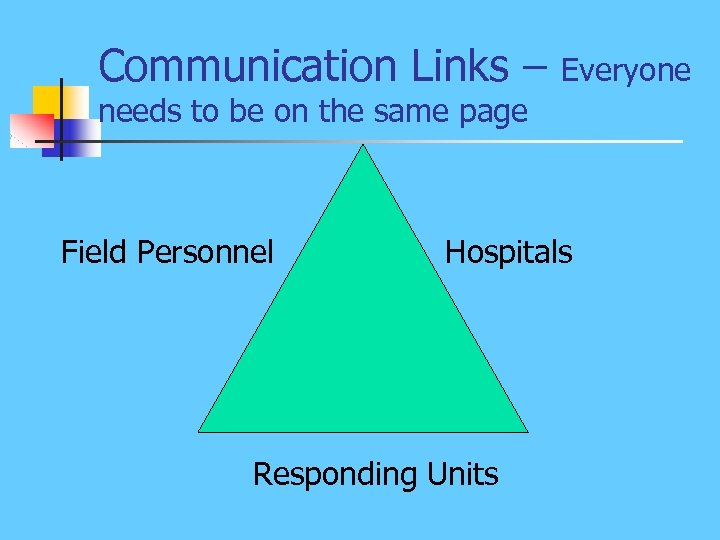 Communication Links – Everyone needs to be on the same page Field Personnel Hospitals