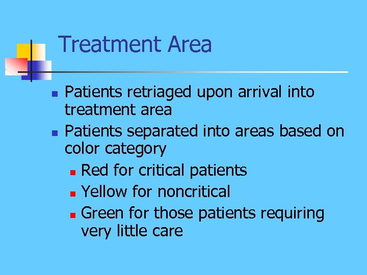 Treatment Area n n Patients retriaged upon arrival into treatment area Patients separated into