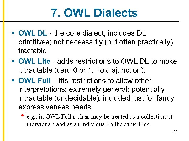 7. OWL Dialects § OWL DL - the core dialect, includes DL primitives; not