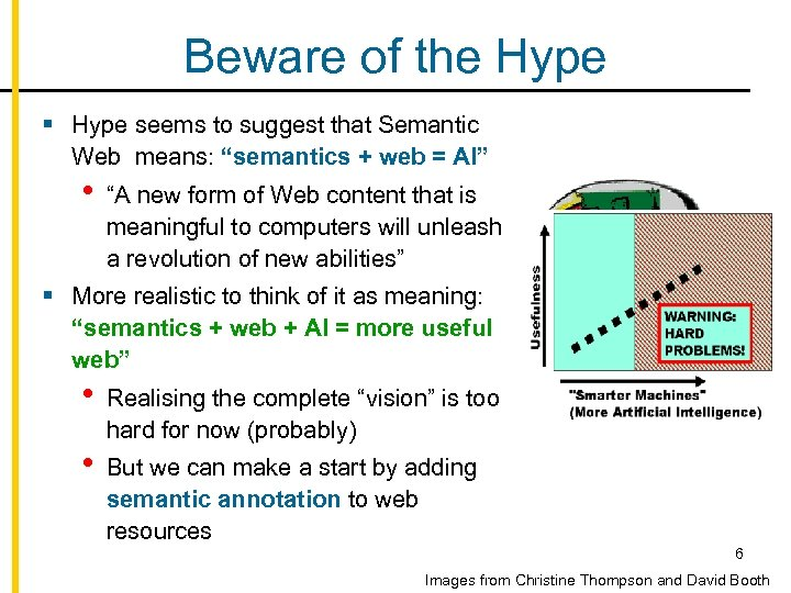"""Beware of the Hype § Hype seems to suggest that Semantic Web means: """"semantics"""
