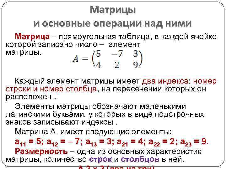 Матрицы и основные операции над ними Матрица – прямоугольная таблица, в каждой ячейке которой
