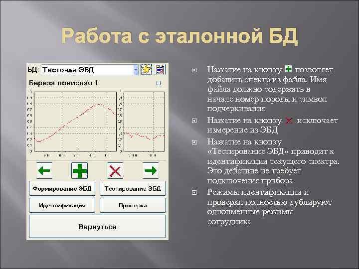 Работа с эталонной БД Нажатие на кнопку позволяет добавить спектр из файла. Имя файла